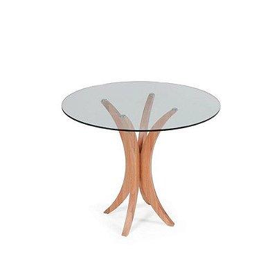 Mesa de Jantar com Tampo de Vidro - Natural