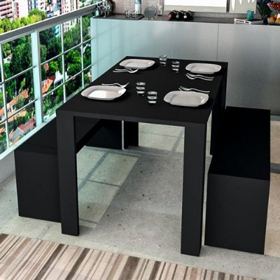 Conjunto Completo Com Mesa De Jantar E 2 Bancos Liv - Preto