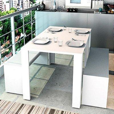 Conjunto Completo Com Mesa De Jantar E 2 Bancos Liv - Branco