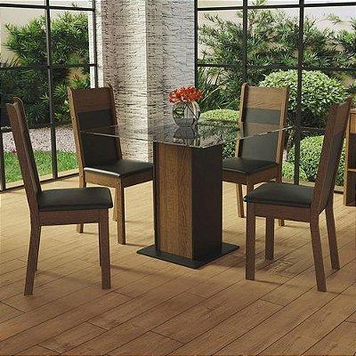 Conjunto Sala de Jantar Madesa Miami Mesa Tampo de Vidro com 4 Cadeiras Preto/Rustic - Cor:Preto/Rustic