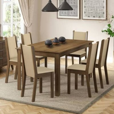 Conjunto Sala de Jantar Madesa Miriam Mesa Tampo de Madeira com 6 Cadeiras Rustic/Crema/Floral Hibiscos