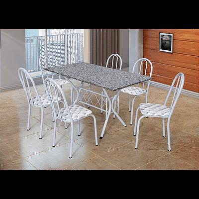 Mesa de Jantar com 6 Cadeiras, Tampo em Granito, Aço Carbono - Bruna