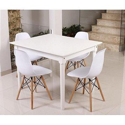 Kit Mesa De Jantar Robust 110x90 Branca + 04 Cadeiras Charles Eames - Branco