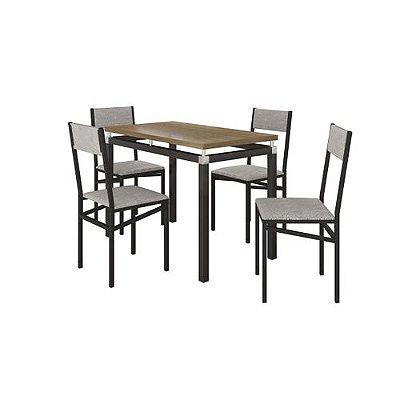 Conjunto de Mesa Copenhague com 4 Cadeiras Copenhague Preto Fosco com Vegetale