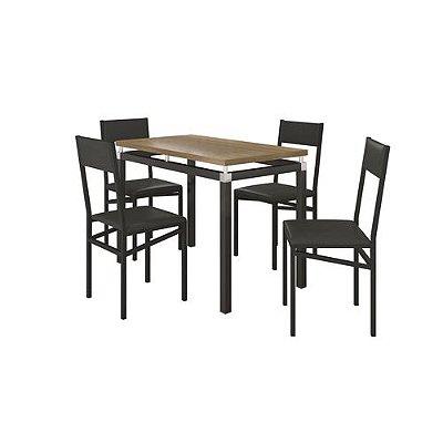 Conjunto de Mesa Copenhague com 4 Cadeiras Copenhague Preto Fosco com Preto Liso