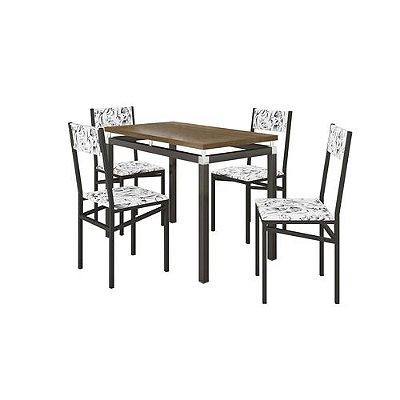 Conjunto de Mesa Copenhague com 4 Cadeiras Copenhague Preto Fosco com Branco Floral