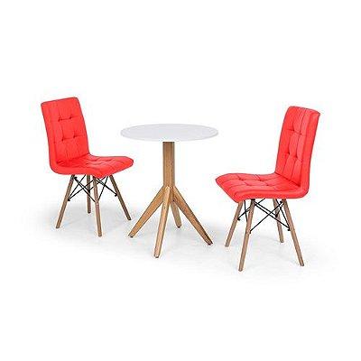 Conjunto Mesa de Jantar Maitê 60cm Branca com 2 Cadeiras Eiffel Gomos - Vermelha