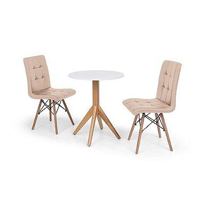 Conjunto Mesa de Jantar Maitê 60cm Branca com 2 Cadeiras Eiffel Gomos - Nude
