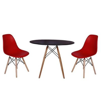 kit Mesa Jantar Eiffel 80cm Preta + 2 Cadeiras Charles Eames - Vermelha
