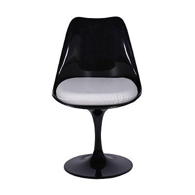 Cadeira Saarinen Sem Braço Com Almofada Branca em Alumínio Preta