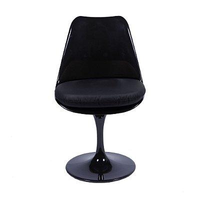 Cadeira Saarinen Sem Braço Com Almofada em Alumínio Preta