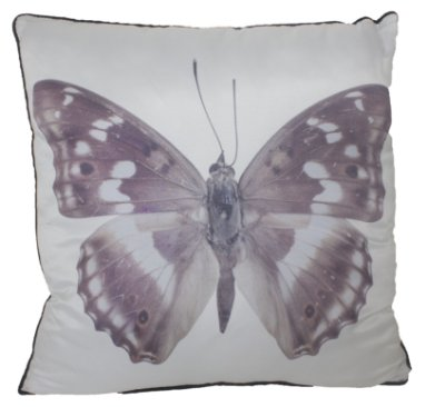 Almofada branca com borboleta roxa- Fullway