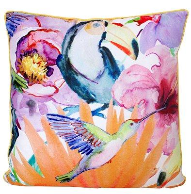 Almofada tucano colorido com flores- Fullway
