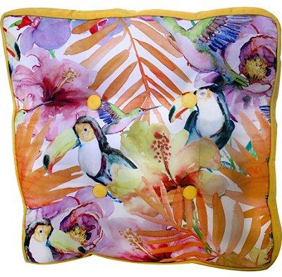 Almofada com tucano,flores e folhas- Fullway