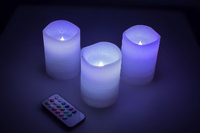 Vela branca de led,conjunto de 3 peças e um controle remoto,varias cores-Fullway