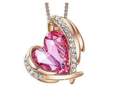 Colar de Ouro 18k Estilo Trendy com Pedras de Cristal em Coração 7 cores