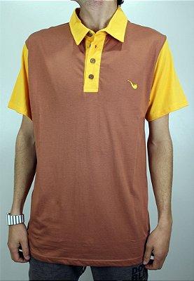 Camisa Blaze Polo Marrom/Amarelo