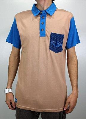 Camisa Honeypot Polo Marrom/Azul