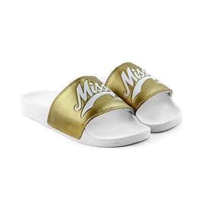 Chinelo MISSY Slide Branco com Dourado