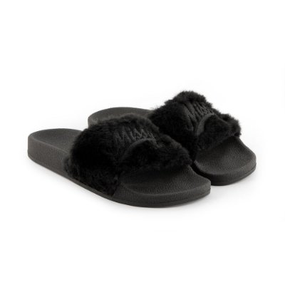 Chinelo MISSY Slide  Preto Fluffy