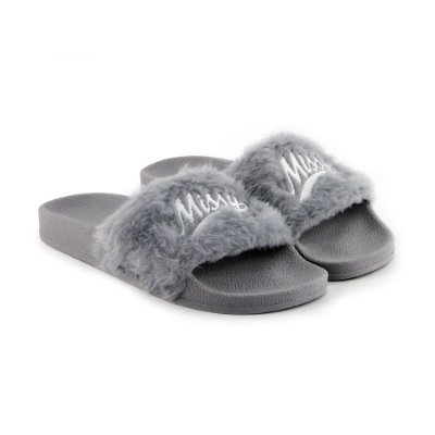 Chinelo MISSY Slide Cinza Fluffy
