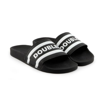 Chinelo Double-G Slide Preto Listrado
