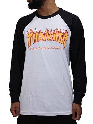 Camiseta Thrasher Flame Manga Longa Raglan