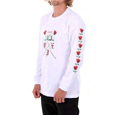 Camiseta Qix Roses Manga longa Branca