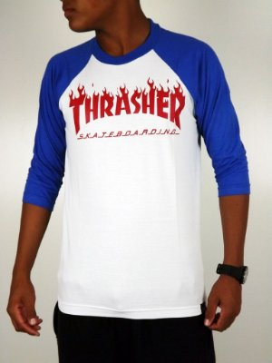 Camiseta Thrasher Raglan 3/4 Branco/Azul