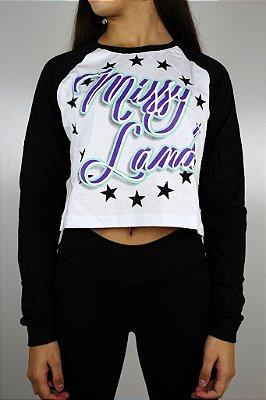 Camiseta Cropped Qix Missy Raglan manga longa