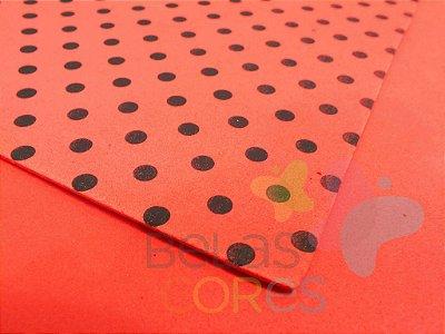 Folha de EVA 40x60cm - Estampado Poa Vermelho com Preto - 5 unidades