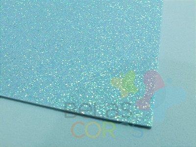 Folha de EVA 40x60cm - Glitter Neon Azul Claro - 5 unidades