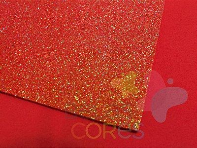 Folha de EVA 40x60cm - Glitter Neon Vermelho - 5 unidades