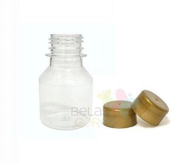 Garrafinha PET Pitoca 70 ml - Tampa Dourada - 10 unidades