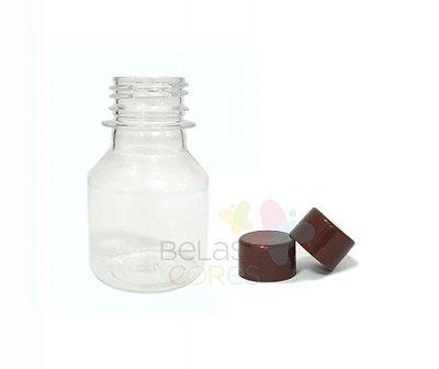 Garrafinha PET Pitoca 70 ml - Tampa Marrom - 10 unidades