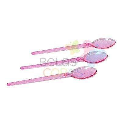 Mini Colherzinha Rosa Transparente - Kit C/ 100 Unidades