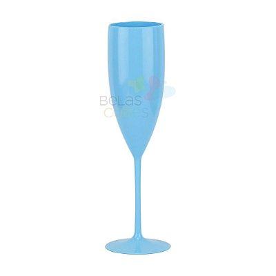 Taça Chandon Acrílica Cor Sólida Azul - Kit C/ 05 Unidades