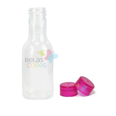 Garrafinhas Plásticas 50ml - Pet - Tampa Plástica Pink - Kit c/ 50
