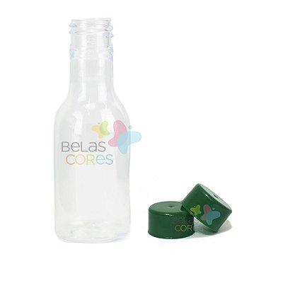Garrafinhas Plásticas 50ml - Pet - Tampa Plástica Verde Bandeira - Kit c/ 50