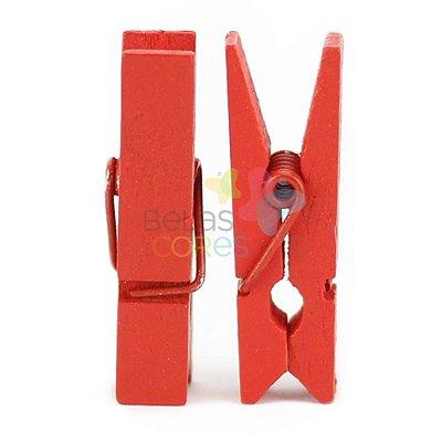 Mini Prendedor / Pregador de Madeira 35mm Cor Vermelha - Kit c/ 50 unidades