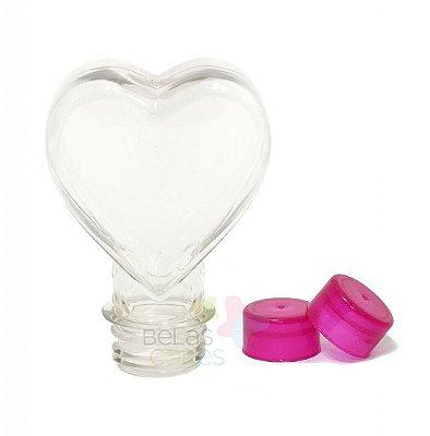 Tubete Pet Coração 100 ml Tampa Pink - 10 unidades