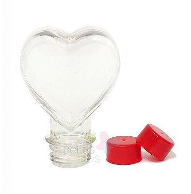 Tubete Pet Coração 100 ml Tampa Vermelha - 10 unidades