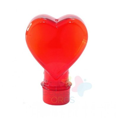 Tubete Pet Coração Vermelho 100 ml Tampa Vermelha - 10 unidades