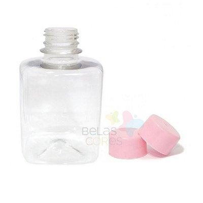Frasco Quadrado 250 ml Tampa Rosa - 10 unidades