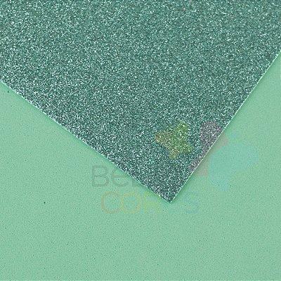 Folha de EVA 40x60cm - Glitter Verde Água - 5 unidades