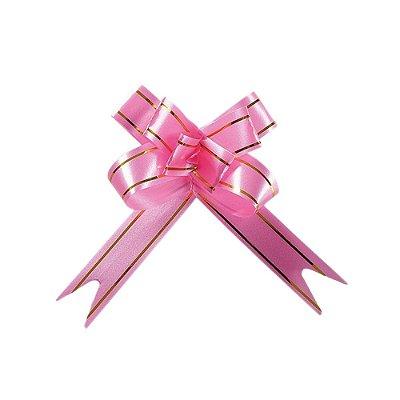 Laço Fácil Pronto Rosa com Dourado - 10 unidades