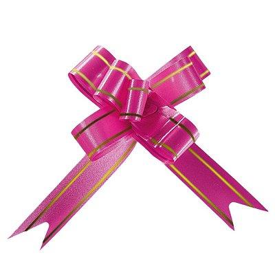 Laço Fácil Pronto Pink com Dourado - 10 unidades