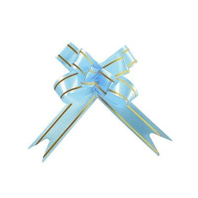 Laço Fácil Pronto Azul Claro com Dourado - 10 unidades
