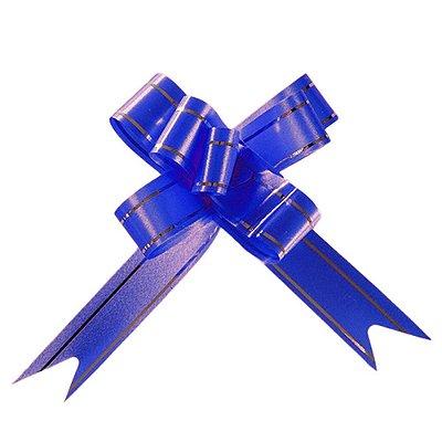 Laço Fácil Pronto Azul Escuro com Prata - 10 unidades