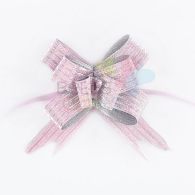 Laço Fácil Pronto Glitter Rosa Listrado - 50 unidades